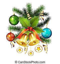 Christmas bells - Christmas ball with pine tree and bells