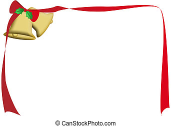 Christmas bells - a frame of a ribbon tied to some bells
