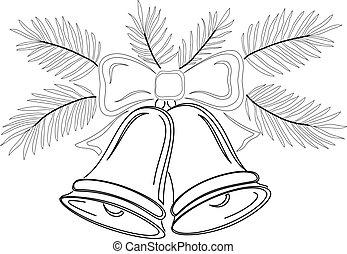 Christmas bells, contours - Christmas decoration, symbolical...