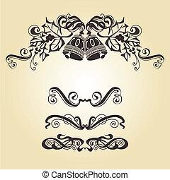 Christmas bells - Calligraphic ornamentation. Set of...