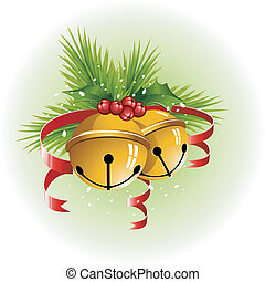 Christmas bells with red ribbon, holly and pine branches....