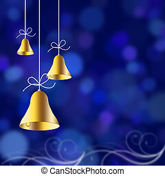 Christmas bells illustrated on a red background, christmas...