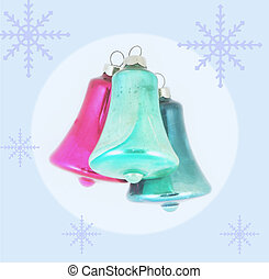 Christmas bells on a blue background with snowflakes