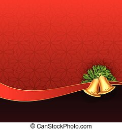 christmas bells on red background design