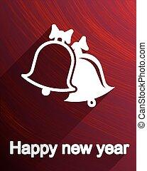 Christmas bells postcard, icon or label design