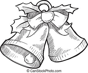 Christmas bells sketch - Doodle style holiday bells with...
