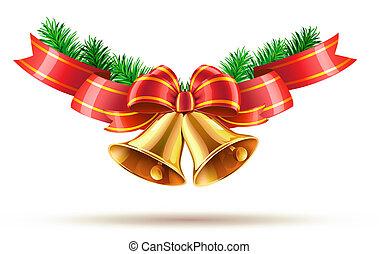 Christmas bells - illustration of shiny golden Christmas...