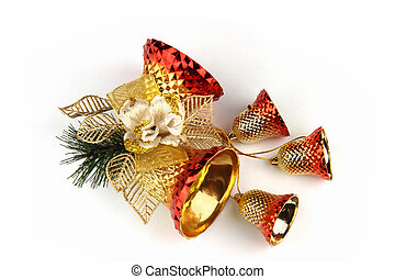 Christmas bells - Christmas decoration with bells on white...