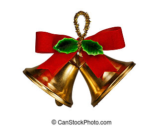Two Christmas flake bells with red ribbon