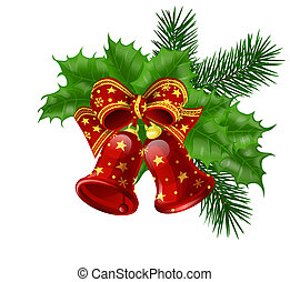 Christmas bells with ribbon, fir branches and holly leaves