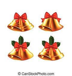 Christmas bells vector set