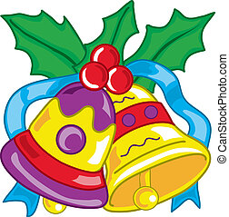 Vibrant and colorful illustration of christmas bells with holly