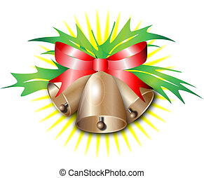 Christmas bells with a red bow on a background of yellow...