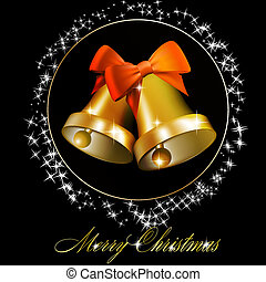 Christmas bells with bows on black background