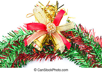 Christmas bells with red and green wreath.