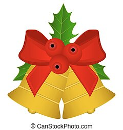 Christmas bells with red bow and holly