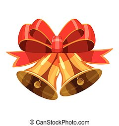 Christmas bells with red bow icon, cartoon style