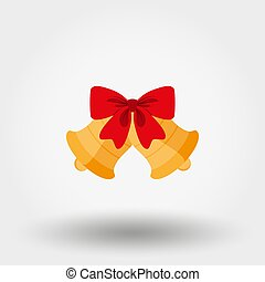 Christmas bells with red bow.