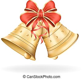 Christmas bells with red bow on white background. Xmas...