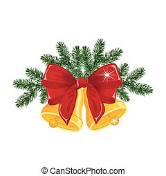 Christmas bells with red bow, vector illustration