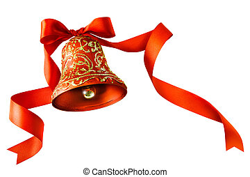 Christmas bells with red ribbon isolated on white background