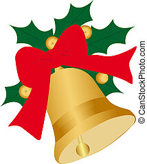 Christmas Bells with ribbon and Ilex - *** Christmas Bells...