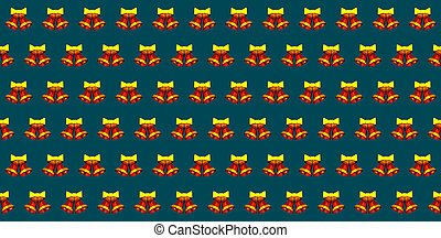 Christmas bells with yellow bows on green blue background 3D illustration