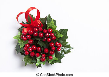 Christmas berries garland with red ribbon