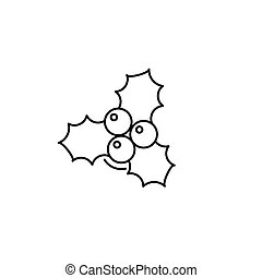 christmas berries icon in line art style. Vector illustration esp 10