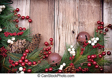 Christmas berries on wooden background