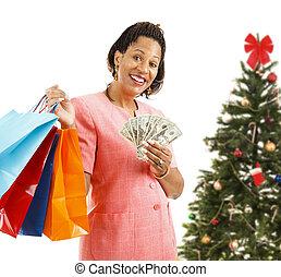christmas bevásárlás, -, nagy, költekező
