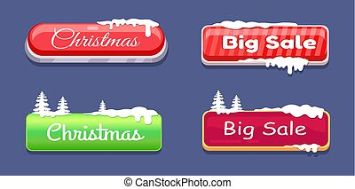 Christmas Big Sale Glossy Web Push Buttons in Snow
