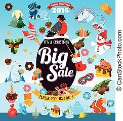 Christmas big sale with icons