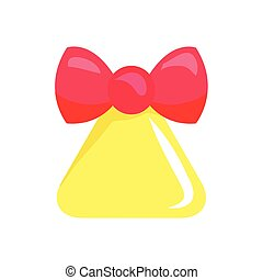 Christmas Big Yellow Bell with Red Ribbon. Vector -...