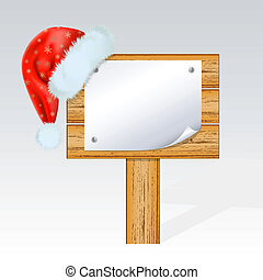 Christmas billboard with a hat of Santa Claus . Mesh.
