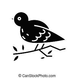 Christmas bird black icon, concept illustration, vector flat symbol, glyph sign.