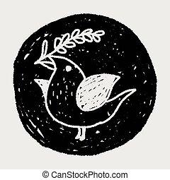 Christmas bird doodle