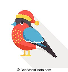 Christmas bird flat icon
