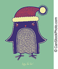 christmas bird, illustration of doodle penguin in a hat, merry christmas! happy new year!