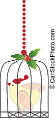 Christmas bird in a cage