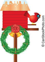 Christmas Birdhouse with Cardinal and Wreath Illustration -...
