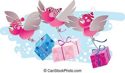 Christmas birds bring gifts