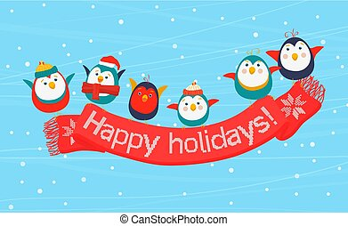Christmas birds holding a scarf with the Happy Holidays inscription. Merry New Year greeting card.