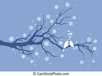 Christmas birds on winter tree with snowflakes, vector...