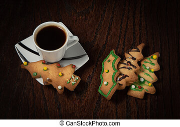 Christmas biscuits and cup of fresh black coffee.
