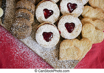 christmas biscuits on wooden board