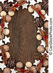 Christmas Biscuits - Christmas biscuit food background with...