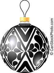 Christmas black and white ball on white background. Vector illus