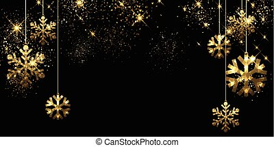 Christmas black background with snowflakes. - Christmas...