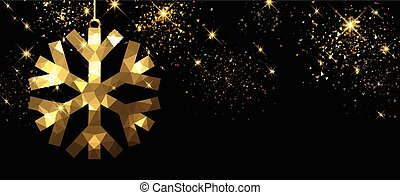 Christmas black banner with snowflake.